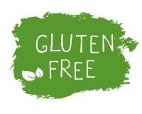 Etiket van het gluten het vrije voedsel en hoog - de kentekens van het kwaliteitsproduct Bio organische Ecohealthy, 100 bio en na royalty-vrije illustratie