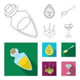 Etiket van olijfolie, lepel met een daling, olijven op stokken, een glas van alcohol Olijven geplaatst inzamelingspictogrammen in vector illustratie