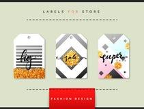 Etiket voor kledingsverkoop die wordt geplaatst Abstract modern ontwerp royalty-vrije illustratie