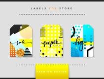 Etiket voor kledingsverkoop die wordt geplaatst Abstract modern ontwerp Royalty-vrije Stock Foto's