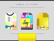 Etiket voor kledingsverkoop die wordt geplaatst Abstract modern ontwerp Royalty-vrije Stock Foto