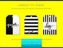 Etiket voor kledingsverkoop die wordt geplaatst Abstract modern ontwerp Stock Fotografie