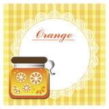 Etiket voor oranje jam stock foto