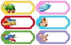 Etiketontwerp met verschillend speelgoed Stock Afbeelding