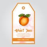 Etikett av aprikosdriftstopp med vattenfärgbakgrund och den färgade gränsen Royaltyfri Fotografi