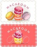 Etikett av macaron stock illustrationer