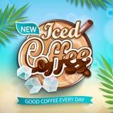Etikett av med is kaffe med med is kuber royaltyfri illustrationer