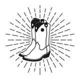 Etikett, emblem eller stämpel för cowboykängor med strålar Royaltyfri Illustrationer