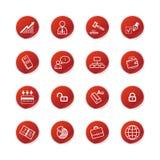 etikett för affärssymbolsred stock illustrationer