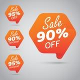 Etikett för att marknadsföra återförsäljnings- beståndsdeldesign 90% 95% Sale, diskett, av på den gladlynta apelsinen vektor illustrationer