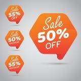 Etikett för att marknadsföra återförsäljnings- beståndsdeldesign 50% 55% Sale, diskett, av på den gladlynta apelsinen vektor illustrationer