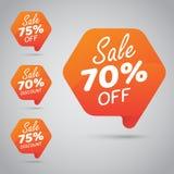 Etikett för att marknadsföra återförsäljnings- beståndsdeldesign 70% 75% Sale, diskett, av på den gladlynta apelsinen vektor illustrationer