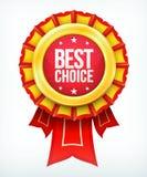 Etikett för bäst choice guld för vektor röd med band. Fotografering för Bildbyråer