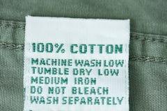etikett för bomull 100 Royaltyfri Fotografi