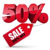 etikett för 3d Sale, 50 procent av Royaltyfri Fotografi