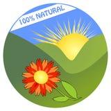 Etikett för den 100% naturprodukten från ekologisk miljö Arkivfoton