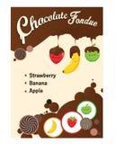 Etikett för design för illustration för chokladfondue royaltyfri foto