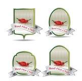 Etikett för en produkt (chilisås) Arkivbild
