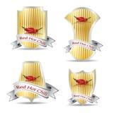 Etikett för en produkt (chilisås) Royaltyfria Foton