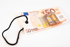 etikett för euro 50 Fotografering för Bildbyråer