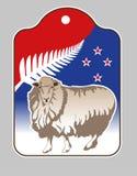 Etikett för exporten av ull stock illustrationer