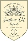 Etikett för förädlad solrosolja med inskriften royaltyfri illustrationer