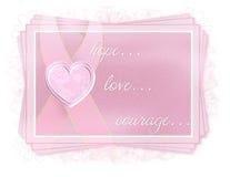 etikett för förälskelse för bröstcancerkuragehope Arkivfoto