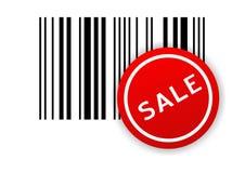 etikett för försäljning för stångkod Arkivfoto