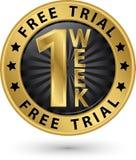 1 etikett för fritt försök för vecka guld-, vektorillustration Arkivbilder