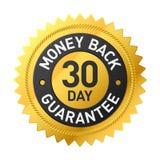 30 - etikett för garanti för dagpengarbaksida Arkivfoto