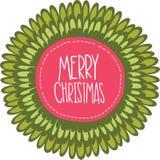 Etikett för glad jul. Xmas-bakgrund Royaltyfri Fotografi