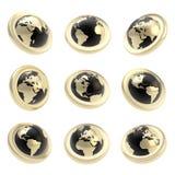 Etikett för jordjordklotemblem i nio som förkortar perspektiviskt stock illustrationer