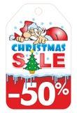 Etikett för jultomtenjulförsäljning vektor illustrationer