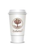 etikett för kaffekopp Fotografering för Bildbyråer