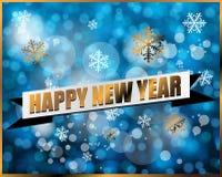 Etikett för lyckligt nytt år på blå bokehbakgrund Vektor Illustrationer
