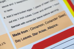 Etikett för matingredienser fotografering för bildbyråer
