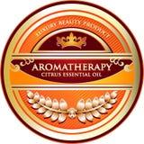 Etikett för olje- produkt för citrus Aromatherapy nödvändig Royaltyfri Illustrationer