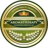Etikett för olje- produkt för LemongrassAromatherapy nödvändig Stock Illustrationer