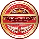Etikett för olje- produkt för Manuka Aromatherapy nödvändig Royaltyfri Illustrationer