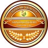 Etikett för olje- produkt för sandelträAromatherapy nödvändig Vektor Illustrationer