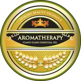 Etikett för olje- produkt för Ylang Ylang Aromatherapy nödvändig Royaltyfri Illustrationer