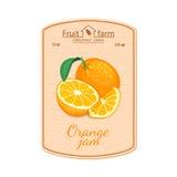 Etikett för orange driftstopp för vektor Sammansättning av tropiska orange frukter Design av en klistermärke för en krus med oran Fotografering för Bildbyråer