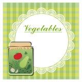 Etikett för på burk grönsaker Arkivfoto
