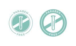 Etikett för packe för fri vektor för Paraben kosmetisk stock illustrationer