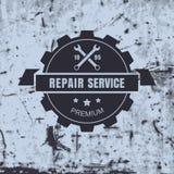 Etikett för service för reparation för tappningstilbil på rostig bakgrund Vect