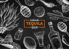 Etikett för svart tavla för Tequilastångvektor Mexicansk alkoholdrinkdrawi royaltyfri illustrationer