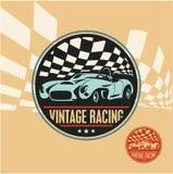 Etikett för tävlings- bil för tappning, retro sportbil royaltyfri illustrationer