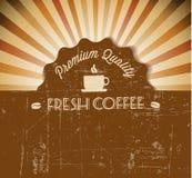 Etikett för tappning för kaffevektorgrunge retro Fotografering för Bildbyråer