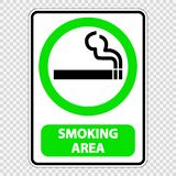 etikett för tecken för röka område för symbol på genomskinlig bakgrund royaltyfri illustrationer