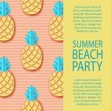 Etikett för tetidtappning Tropisk pappers- ananas Exotisk djungel för sommar vektor illustrationer